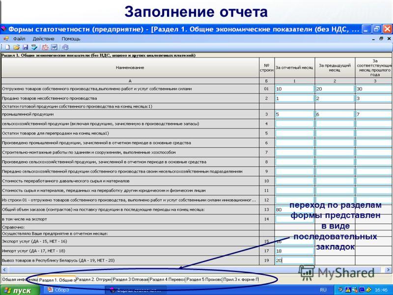 Заполнение отчета переход по разделам формы представлен в виде последовательных закладок