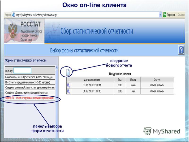 Окно on-line клиента панель выбора форм отчетности создание нового отчета