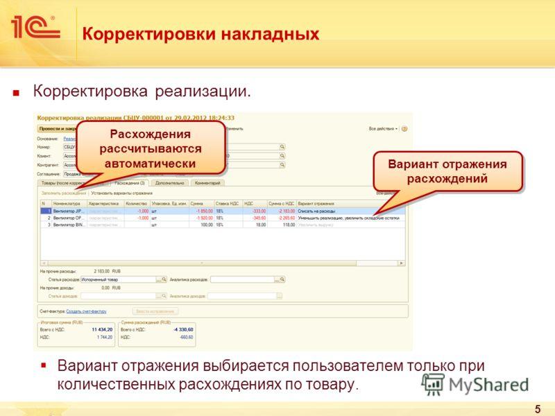 5 Корректировки накладных Корректировка реализации. Вариант отражения выбирается пользователем только при количественных расхождениях по товару. Вариант отражения расхождений Расхождения рассчитываются автоматически