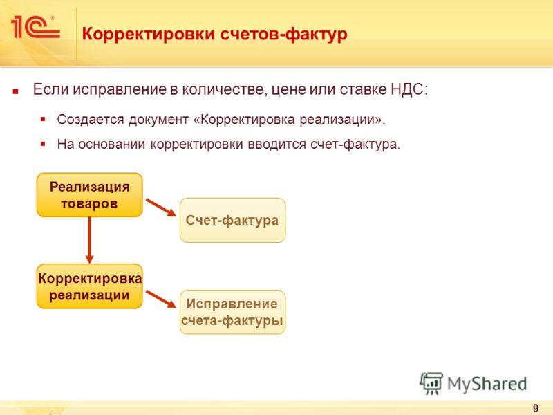 9 Корректировки счетов-фактур Если исправление в количестве, цене или ставке НДС: Создается документ «Корректировка реализации». На основании корректировки вводится счет-фактура. Реализация товаров Счет-фактура Корректировка реализации Исправление сч