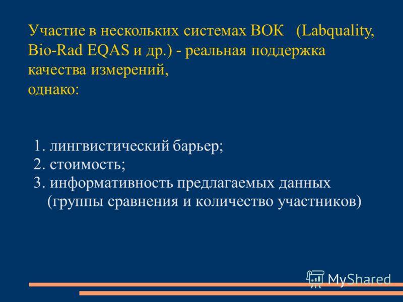 1. лингвистический барьер; 2. стоимость; 3. информативность предлагаемых данных (группы сравнения и количество участников) Участие в нескольких системах ВОК (Labquality, Bio-Rad EQAS и др.) - реальная поддержка качества измерений, однако: