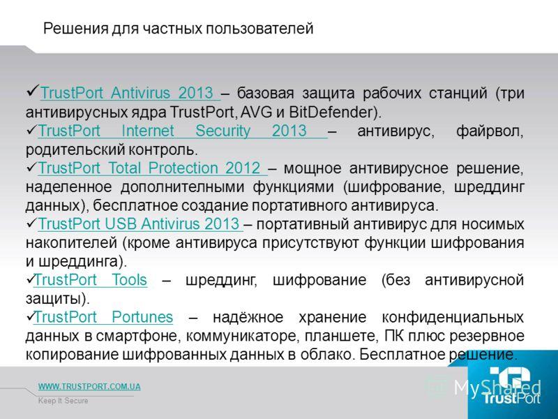 Решения для частных пользователей WWW.TRUSTPORT.COM.UA Keep It Secure TrustPort Antivirus 2013 – базовая защита рабочих станций (три антивирусных ядра TrustPort, AVG и BitDefender). TrustPort Antivirus 2013 TrustPort Internet Security 2013 – антивиру
