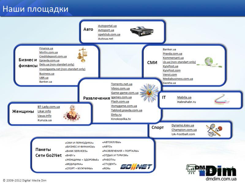 Авто Наши площадки © 2009-2012 Digital Media Dim Бизнес и финансы СМИ Спорт Развлечения IT Пакеты Сети Go2Net Женщины