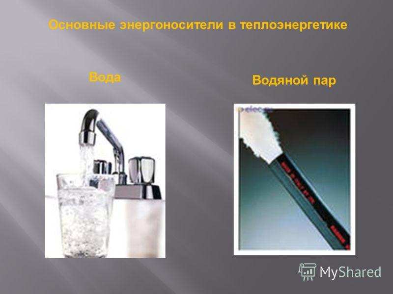 Основные энергоносители в теплоэнергетике Вода Водяной пар