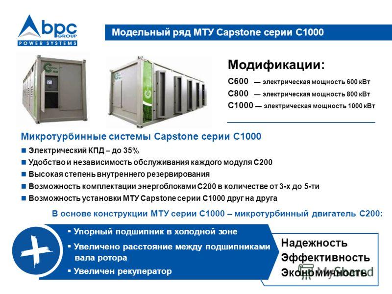 Микротурбинные системы Capstone серии C1000 Электрический КПД – до 35% Удобство и независимость обслуживания каждого модуля С200 Высокая степень внутреннего резервирования Возможность комплектации энергоблоками С200 в количестве от 3-х до 5-ти Возмож