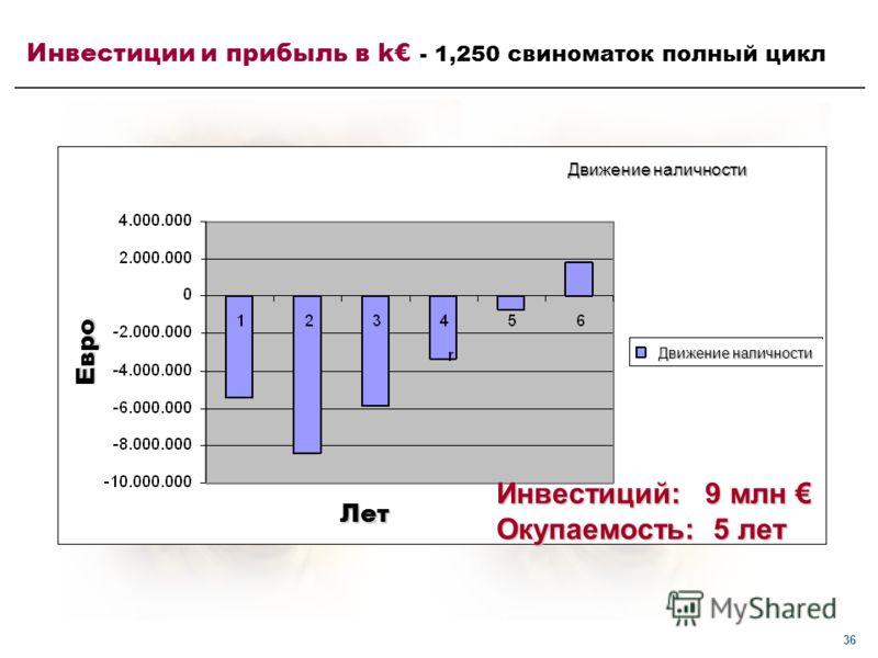 36 Инвестиций: 9 млн Инвестиций: 9 млн Окупаемость: 5 лет Инвестиции и прибыль в k - 1,250 свиноматок полный цикл Лет Евро Движение наличности