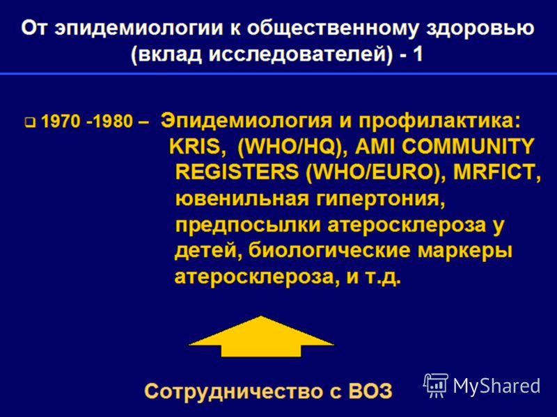 От эпидемиологии к общественному здоровью (вклад исследователей) - 1 1970 -1980 – Эпидемиология и профилактика: KRIS, (WHO/HQ), AMI COMMUNITY REGISTERS (WHO/EURO), MRFICT, ювенильная гипертония, предпосылки атеросклероза у детей, биологические маркер