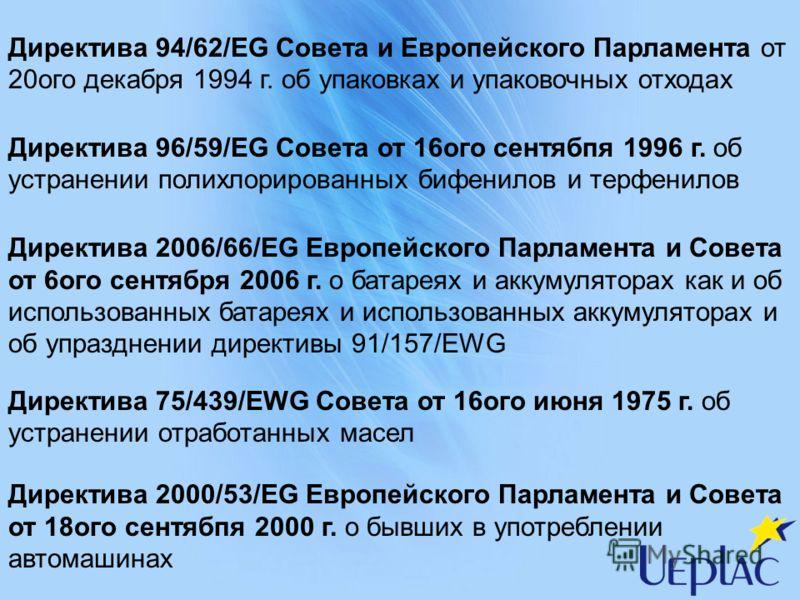 Директива 94/62/EG Совета и Европейского Парламента от 20ого декабря 1994 г. об упаковках и упаковочных отходах Директива 96/59/EG Совета от 16ого сентябпя 1996 г. об устранении полихлорированных бифенилов и терфенилов Директива 2006/66/EG Европейско