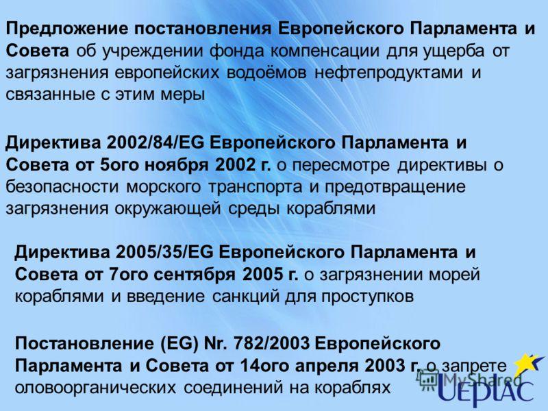 Предложение постановления Европейского Парламента и Совета об учреждении фонда компенсации для ущерба от загрязнения европейских водоёмов нефтепродуктами и связанные с этим меры Директива 2002/84/EG Европейского Парламента и Совета от 5ого ноября 200