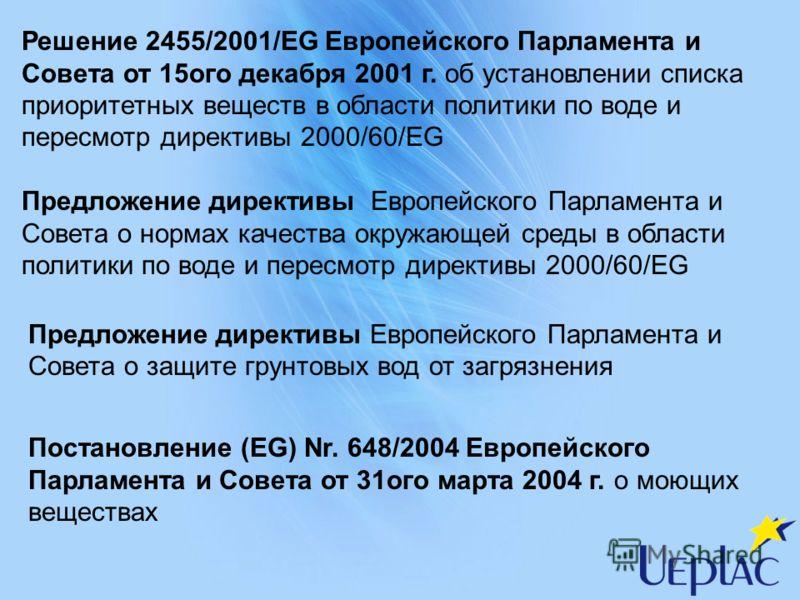 Решение 2455/2001/EG Европейского Парламента и Совета от 15ого декабря 2001 г. об установлении списка приоритетных веществ в области политики по воде и пересмотр директивы 2000/60/ЕG Предложение директивы Европейского Парламента и Совета о нормах кач