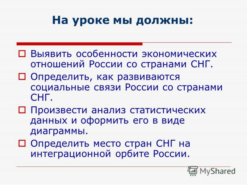 На уроке мы должны: Выявить особенности экономических отношений России со странами СНГ. Определить, как развиваются социальные связи России со странами СНГ. Произвести анализ статистических данных и оформить его в виде диаграммы. Определить место стр