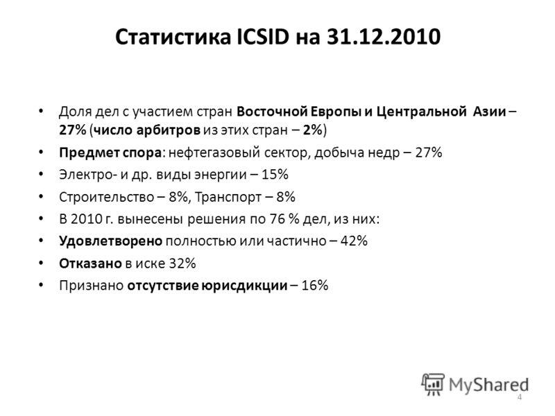 Статистика ICSID на 31.12.2010 Доля дел с участием стран Восточной Европы и Центральной Азии – 27% (число арбитров из этих стран – 2%) Предмет спора: нефтегазовый сектор, добыча недр – 27% Электро- и др. виды энергии – 15% Строительство – 8%, Транспо