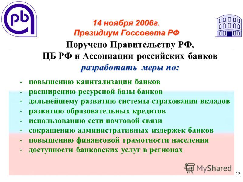13 Поручено Правительству РФ, ЦБ РФ и Ассоциации российских банков разработать меры по: -повышению капитализации банков -расширению ресурсной базы банков -дальнейшему развитию системы страхования вкладов -развитию образовательных кредитов -использова