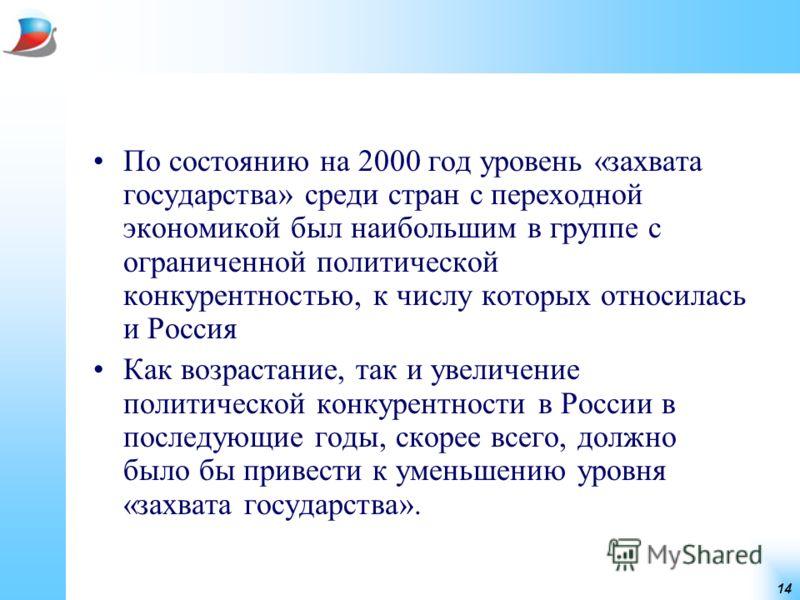 14 По состоянию на 2000 год уровень «захвата государства» среди стран с переходной экономикой был наибольшим в группе с ограниченной политической конкурентностью, к числу которых относилась и Россия Как возрастание, так и увеличение политической конк