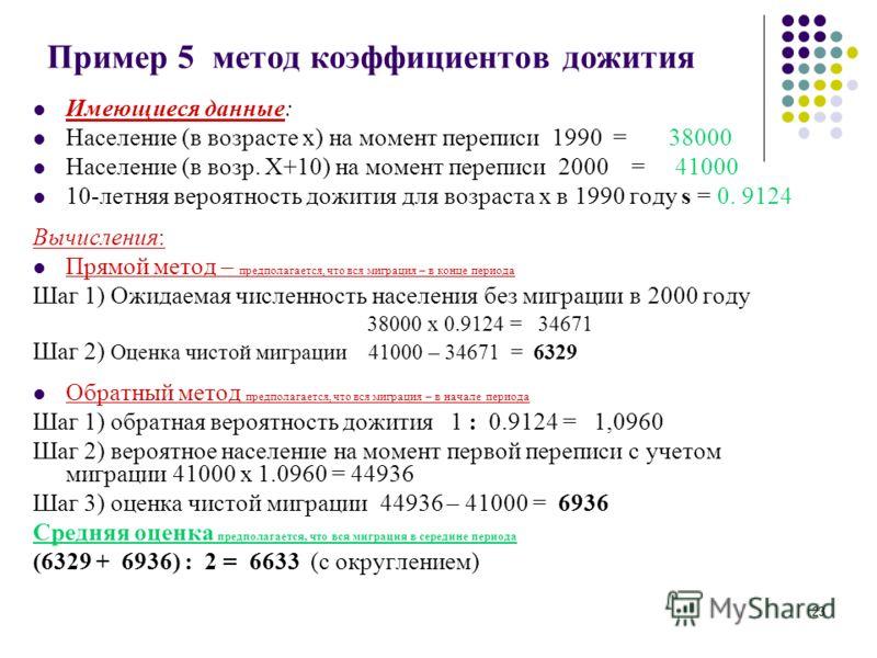 23 Пример 5 метод коэффициентов дожития Имеющиеся данные: Население (в возрасте х) на момент переписи 1990 = 38000 Население (в возр. Х+10) на момент переписи 2000 = 41000 10-летняя вероятность дожития для возраста х в 1990 году s = 0. 9124 Вычислени