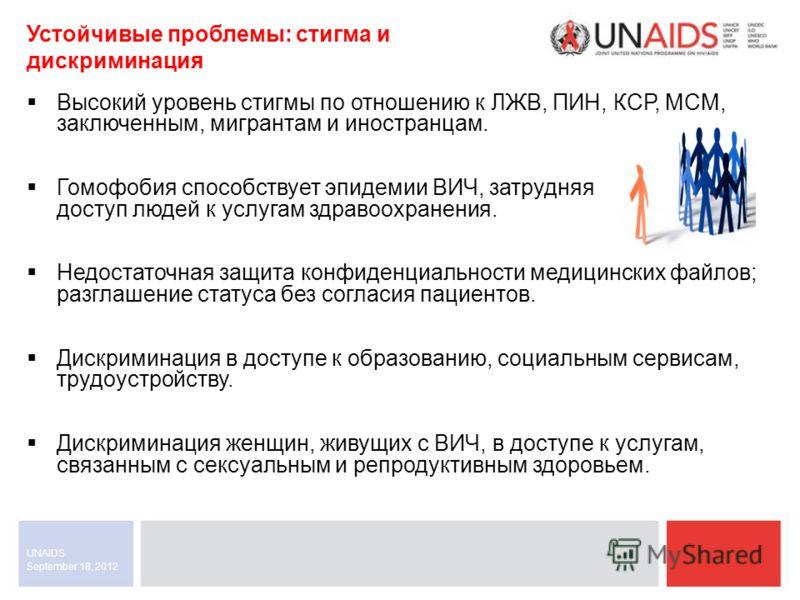 September 18, 2012 UNAIDS Устойчивые проблемы: стигма и дискриминация Высокий уровень стигмы по отношению к ЛЖВ, ПИН, КСР, МСМ, заключенным, мигрантам и иностранцам. Гомофобия способствует эпидемии ВИЧ, затрудняя доступ людей к услугам здравоохранени