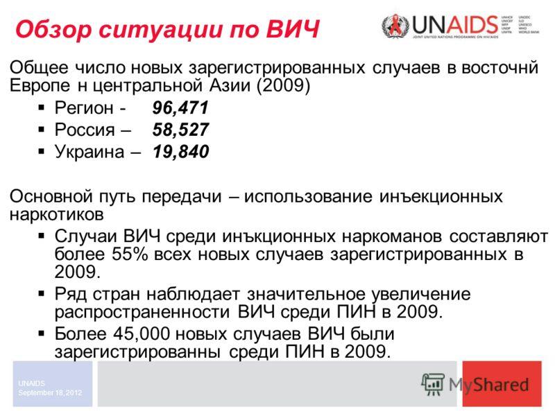 September 18, 2012 UNAIDS Обзор ситуации по ВИЧ Общее число новых зарегистрированных случаев в восточнй Европе н центральной Азии (2009) Регион - 96,471 Россия – 58,527 Украина – 19,840 Основной путь передачи – использование инъекционных наркотиков С