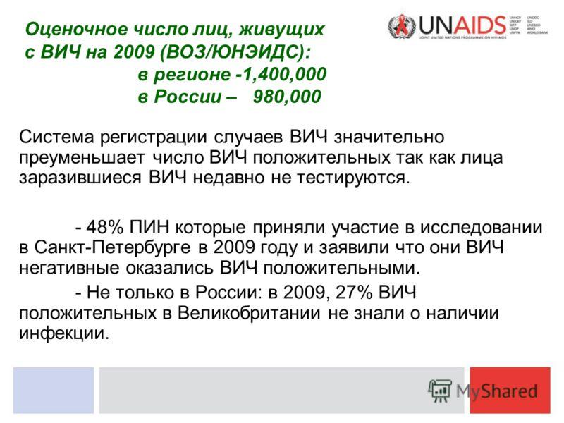 Система регистрации случаев ВИЧ значительно преуменьшает число ВИЧ положительных так как лица заразившиеся ВИЧ недавно не тестируются. - 48% ПИН которые приняли участие в исследовании в Санкт-Петербурге в 2009 году и заявили что они ВИЧ негативные ок