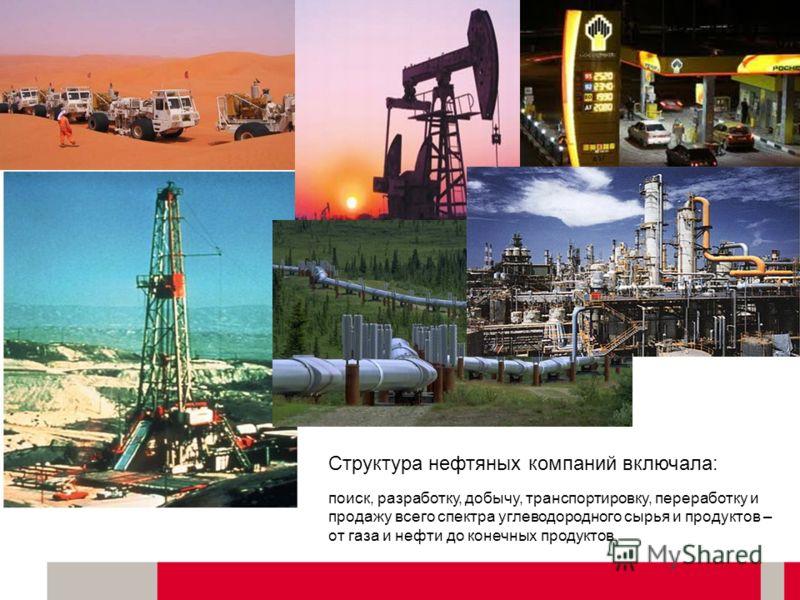 Москва, 22 июня 2011. The Energy of Art Структура нефтяных компаний включала: поиск, разработку, добычу, транспортировку, переработку и продажу всего спектра углеводородного сырья и продуктов – от газа и нефти до конечных продуктов.