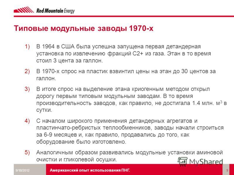 Москва, 22 июня 2011. The Energy of Art Типовые модульные заводы 1970-х 1)В 1964 в США была успешна запущена первая детандерная установка по извлечению фракций С2+ из газа. Этан в то время стоил 3 цента за галлон. 2)В 1970-х спрос на пластик взвинтил