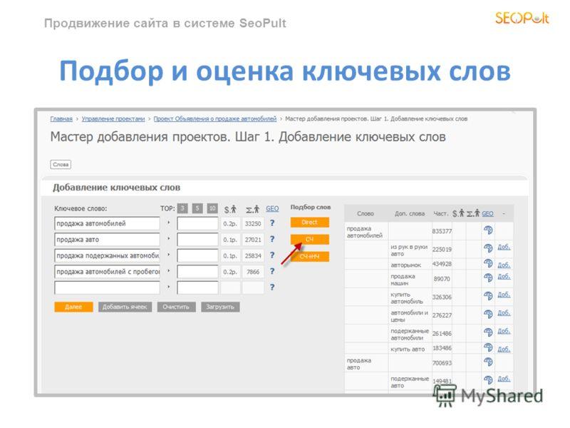 Продвижение сайта в системе SeoPult Подбор и оценка ключевых слов