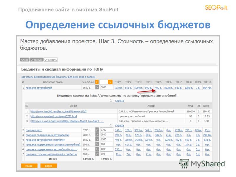 Продвижение сайта в системе SeoPult Определение ссылочных бюджетов