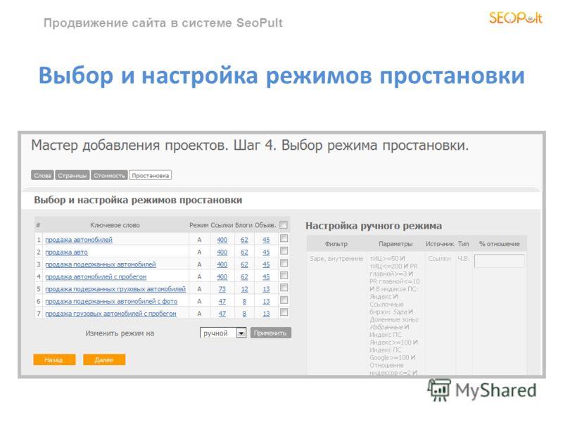 Продвижение сайта в системе SeoPult Выбор и настройка режимов простановки