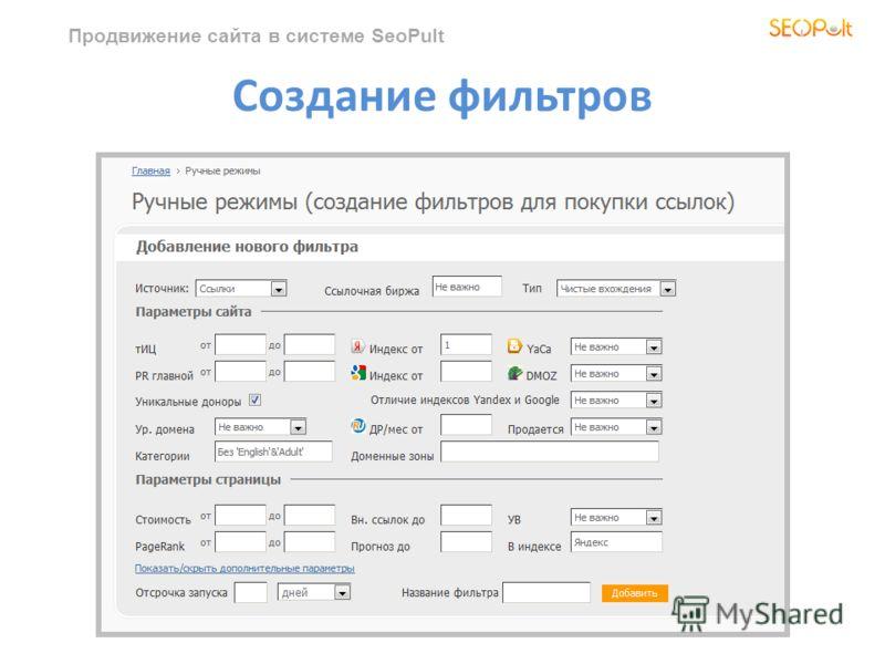 Продвижение сайта в системе SeoPult Создание фильтров