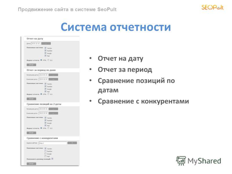 Продвижение сайта в системе SeoPult Система отчетности Отчет на дату Отчет за период Сравнение позиций по датам Сравнение с конкурентами