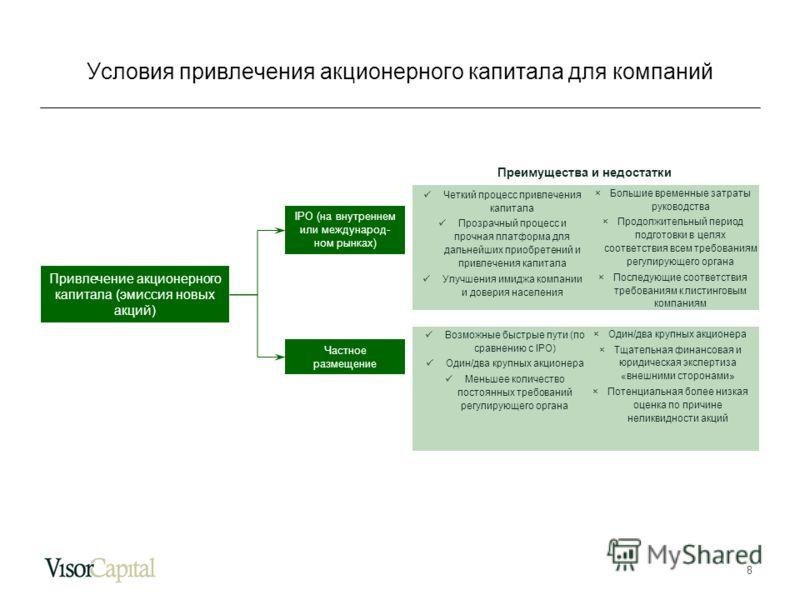 8 Привлечение акционерного капитала (эмиссия новых акций) IPO (на внутреннем или международ- ном рынках) Частное размещение Преимущества и недостатки Четкий процесс привлечения капитала Прозрачный процесс и прочная платформа для дальнейших приобретен