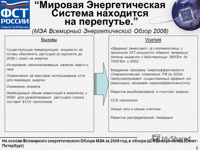 Мировая Энергетическая Система находится на перепутье. (МЭА Всемирный Энергетический Обзор 2008) На основе Всемирного энергетического Обзора МЭА за 2008 год, и обзора ЦСР Северо-запад (Санкт- Петербург) Вызовы Существующие генерирующие мощности не го