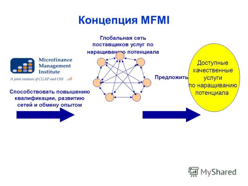 Концепция MFMI Доступные качественные услуги по наращиванию потенциала Глобальная сеть поставщиков услуг по наращиванию потенциала Способствовать повышению квалификации, развитию сетей и обмену опытом Предложить