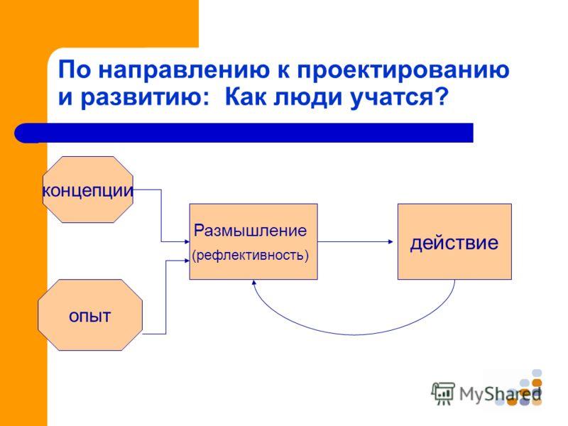 По направлению к проектированию и развитию: Как люди учатся? концепции опыт Размышление (рефлективность) действие