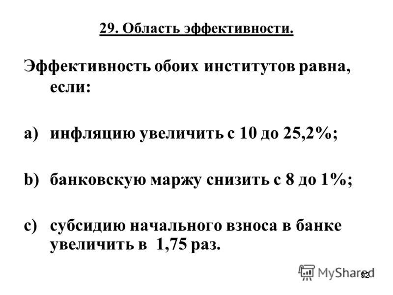 92 29. Область эффективности. Эффективность обоих институтов равна, если: a)инфляцию увеличить с 10 до 25,2%; b)банковскую маржу снизить с 8 до 1%; c)субсидию начального взноса в банке увеличить в 1,75 раз.