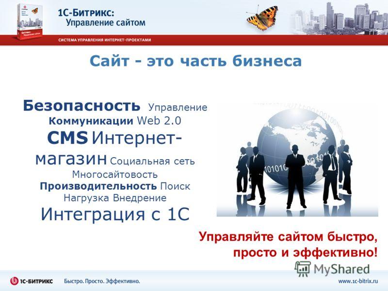Сайт - это часть бизнеса Безопасность Управление Коммуникации Web 2.0 CMS Интернет- магазин Социальная сеть Многосайтовость Производительность Поиск Нагрузка Внедрение Интеграция с 1С Управляйте сайтом быстро, просто и эффективно!
