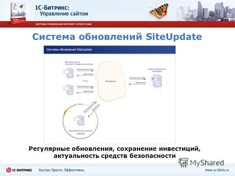 Система обновлений SiteUpdate Регулярные обновления, сохранение инвестиций, актуальность средств безопасности