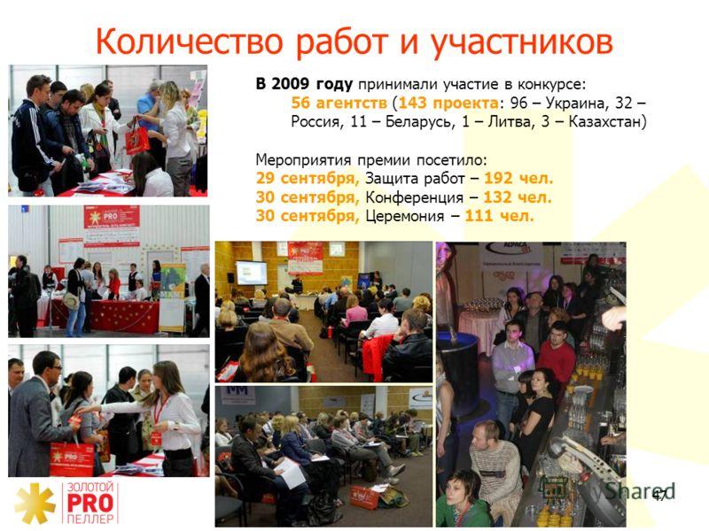 47 Количество работ и участников В 2009 году принимали участие в конкурсе: 56 агентств (143 проекта: 96 – Украина, 32 – Россия, 11 – Беларусь, 1 – Литва, 3 – Казахстан) Мероприятия премии посетило: 29 сентября, Защита работ – 192 чел. 30 сентября, Ко