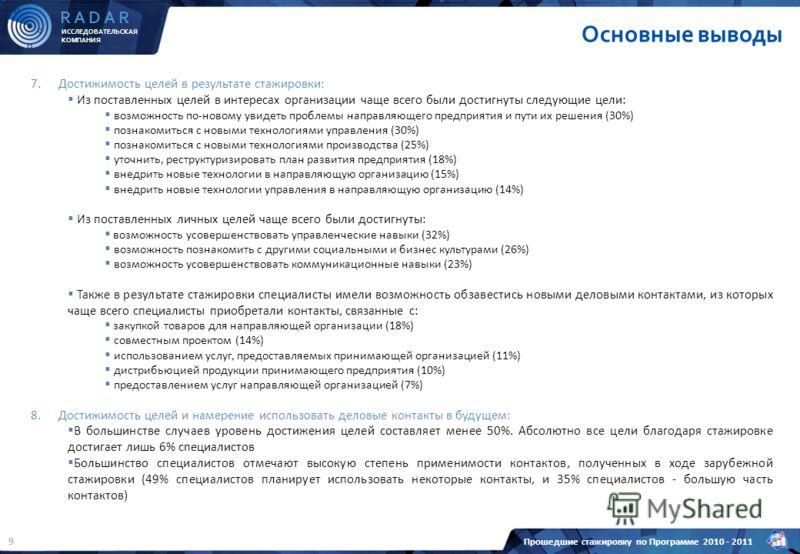 ИССЛЕДОВАТЕЛЬСКАЯ КОМПАНИЯ R A D A R Прошедшие стажировку по Программе 2010 - 2011 9 7.Достижимость целей в результате стажировки: Из поставленных целей в интересах организации чаще всего были достигнуты следующие цели: возможность по-новому увидеть