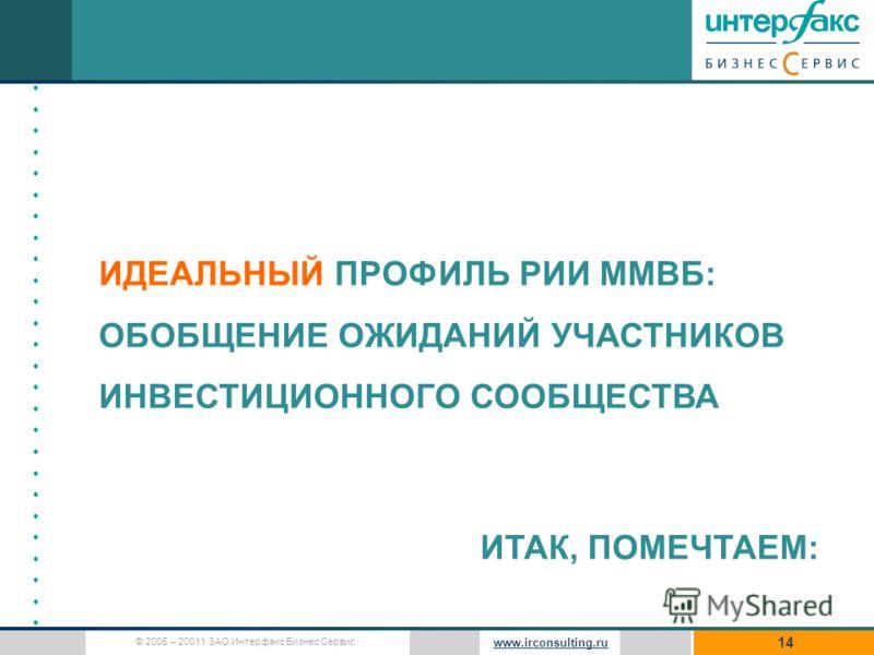 © 2005 – 20011 ЗАО Интерфакс Бизнес Сервис www.irconsulting.ru 14 ИДЕАЛЬНЫЙ ПРОФИЛЬ РИИ ММВБ: ОБОБЩЕНИЕ ОЖИДАНИЙ УЧАСТНИКОВ ИНВЕСТИЦИОННОГО СООБЩЕСТВА ИТАК, ПОМЕЧТАЕМ: