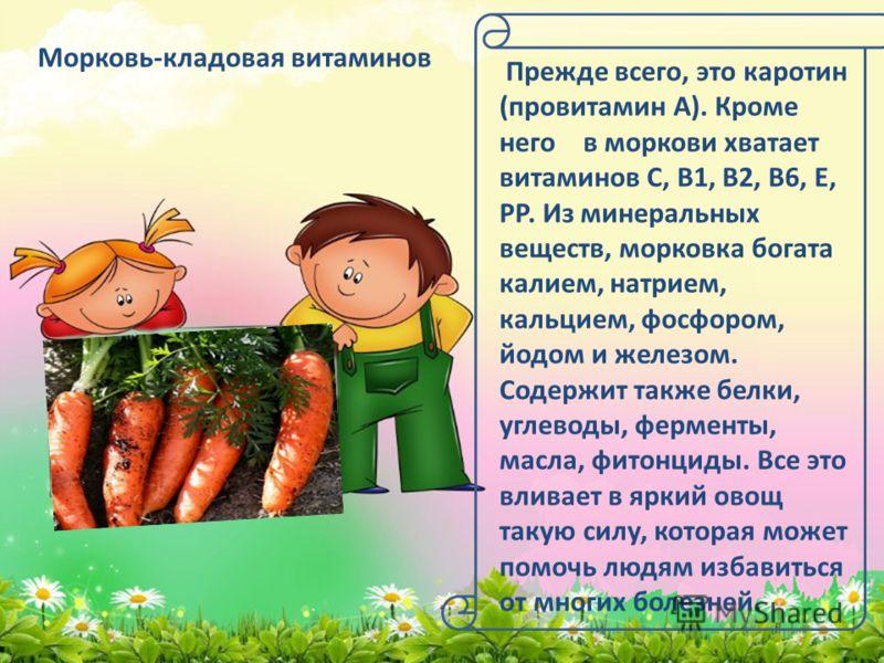 Морковь-кладовая витаминов Прежде всего, это каротин (провитамин А). Кроме него в моркови хватает витаминов С, В1, В2, В6, Е, РР. Из минеральных веществ, морковка богата калием, натрием, кальцием, фосфором, йодом и железом. Содержит также белки, угле