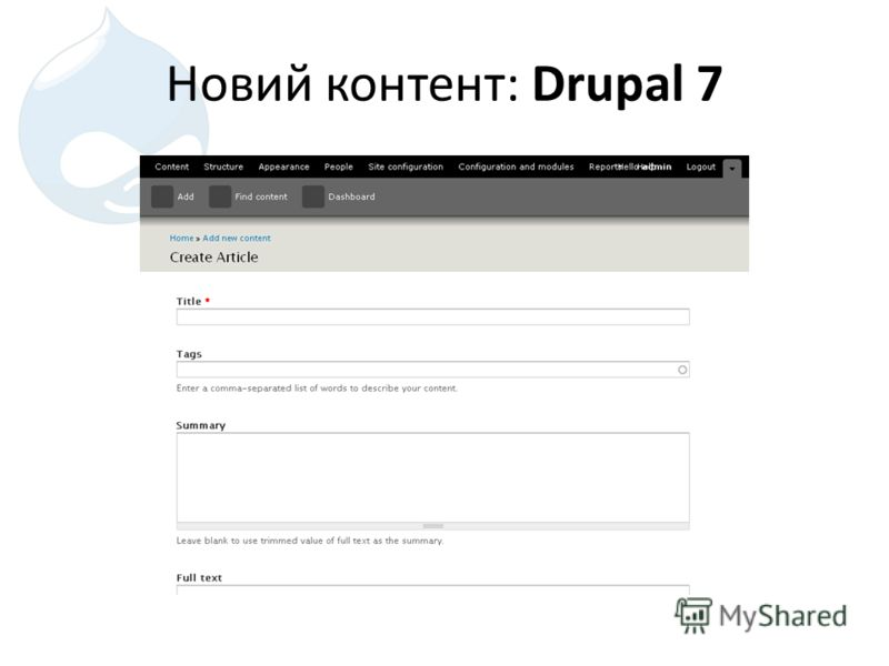 Новий контент: Drupal 7