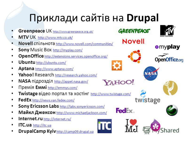 Приклади сайтів на Drupal Greenpeace UK http://www.greenpeace.org.uk/ http://www.greenpeace.org.uk/ MTV UK http://www.mtv.co.uk/http://www.mtv.co.uk/ Novell спільнота http://www.novell.com/communities/ http://www.novell.com/communities/ Sony Music Bo