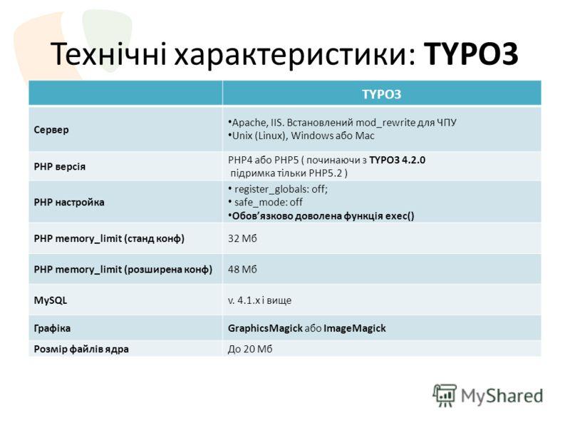 Технічні характеристики: TYPO3 TYPO3 Сервер Apache, IIS. Встановлений mod_rewrite для ЧПУ Unix (Linux), Windows або Mac PHP версія PHP4 або PHP5 ( починаючи з TYPO3 4.2.0 підримка тільки PHP5.2 ) PHP настройка register_globals: off; safe_mode: off Об