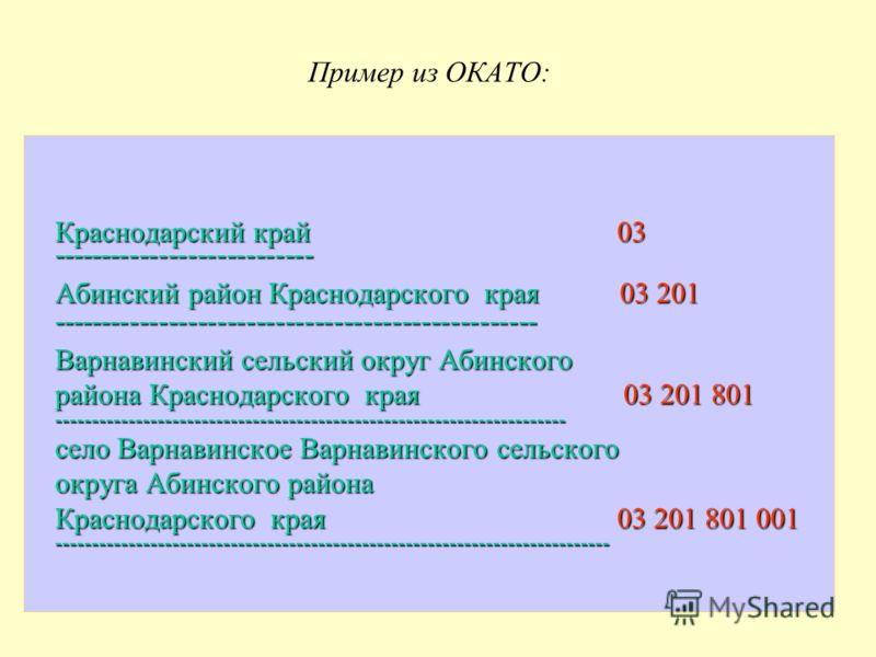Пример из ОКАТО: Краснодарский край 03 Краснодарский край 03 --------------------------- --------------------------- Абинский район Краснодарского края 03 201 -------------------------------------------------- ----------------------------------------
