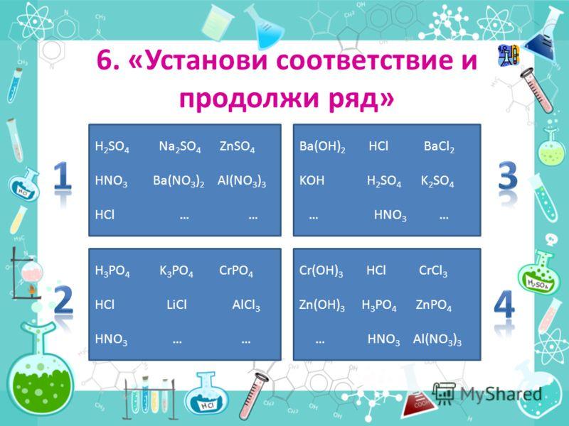 6. «Установи соответствие и продолжи ряд» H 2 SO 4 Na 2 SO 4 ZnSO 4 HNO 3 Ba(NO 3 ) 2 Al(NO 3 ) 3 HCl … … Ba(OH) 2 HCl BaCl 2 KOH H 2 SO 4 K 2 SO 4 … HNO 3 … H 3 PO 4 K 3 PO 4 CrPO 4 HCl LiCl AlCl 3 HNO 3 … … Cr(OH) 3 HCl CrCl 3 Zn(OH) 3 H 3 PO 4 ZnP