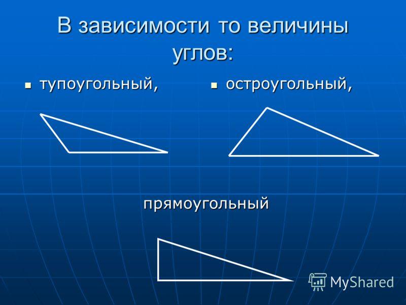В зависимости то величины углов: тупоугольный, тупоугольный, остроугольный, остроугольный, прямоугольный
