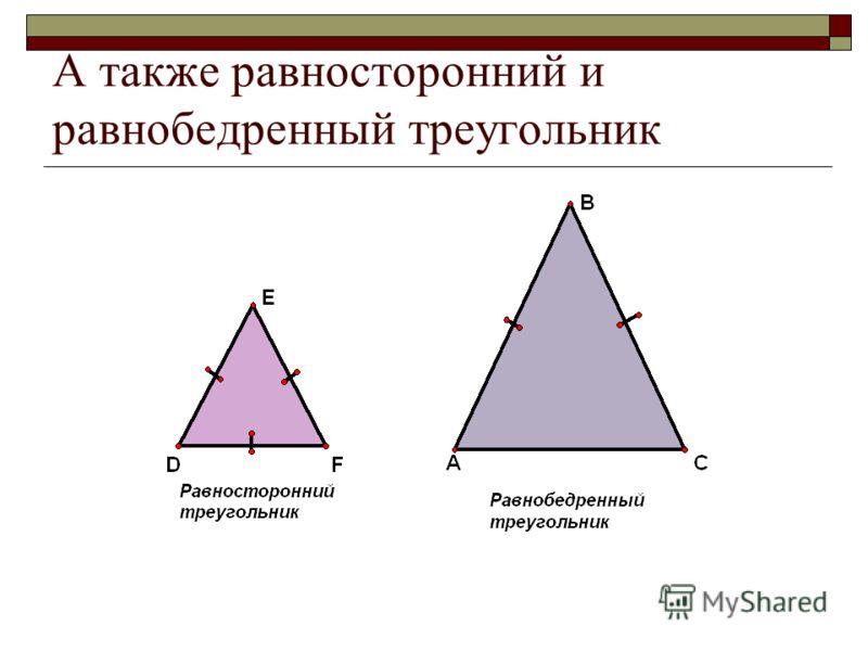 А также равносторонний и равнобедренный треугольник