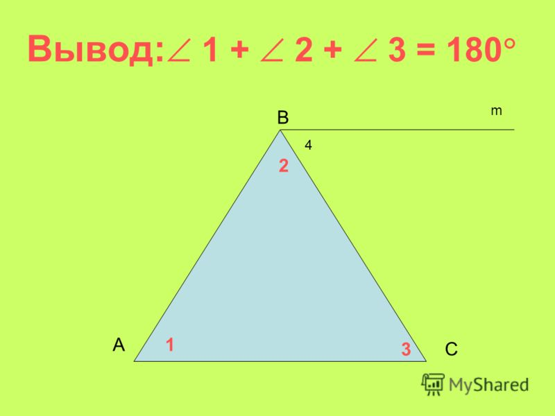 Вывод: 1 + 2 + 3 = 180 А В С 1 2 3 4 m