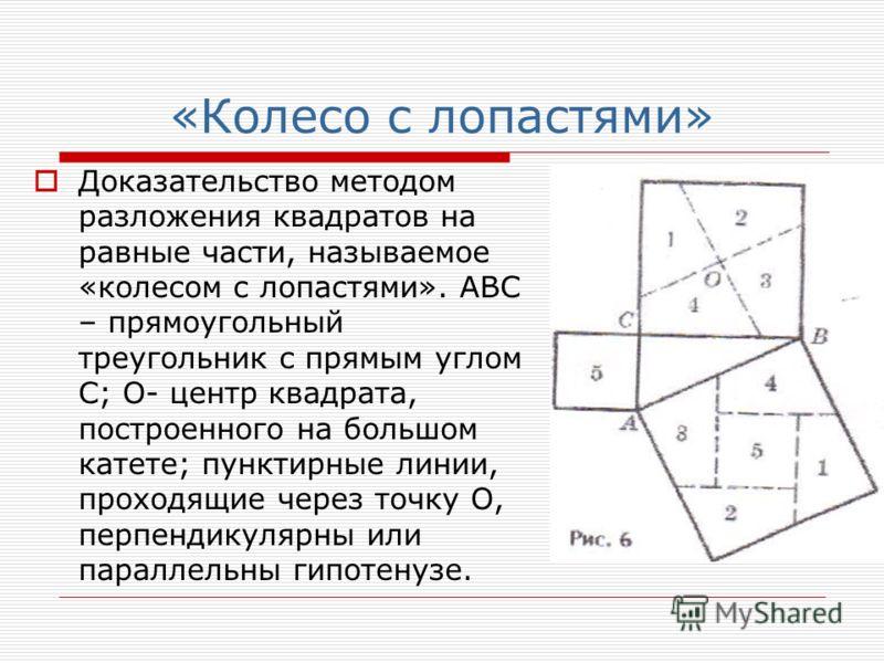 «Колесо с лопастями» Доказательство методом разложения квадратов на равные части, называемое «колесом с лопастями». АВС – прямоугольный треугольник с прямым углом С; О- центр квадрата, построенного на большом катете; пунктирные линии, проходящие чере