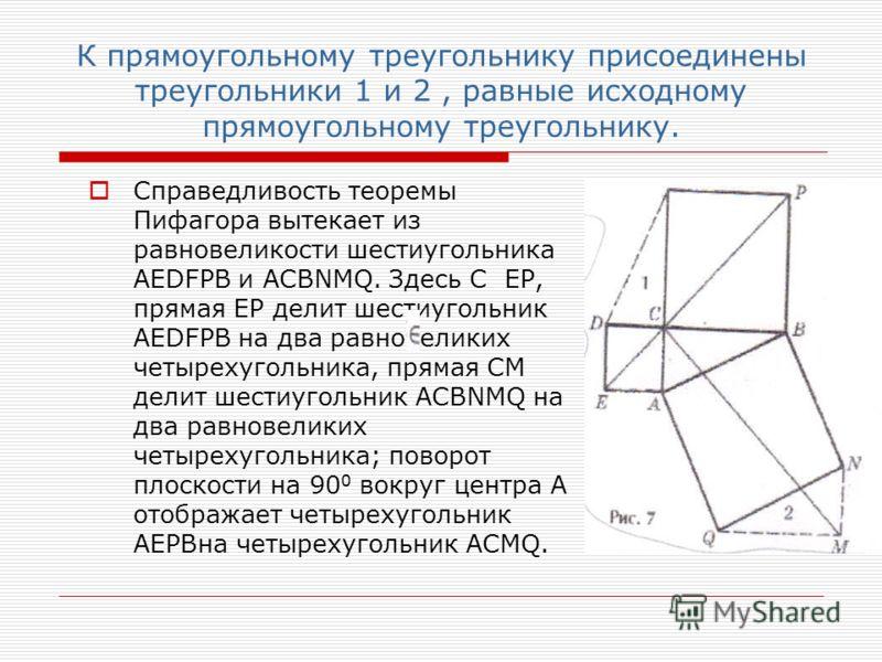 К прямоугольному треугольнику присоединены треугольники 1 и 2, равные исходному прямоугольному треугольнику. Справедливость теоремы Пифагора вытекает из равновеликости шестиугольника AEDFPB и ACBNMQ. Здесь С EP, прямая EP делит шестиугольник AEDFPB н